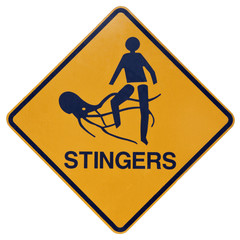 Marine stingers or jelly fish warning sign