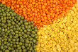 """Yellow split, red """"football"""" lentils and green mung beans"""