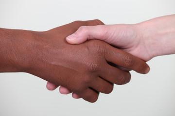 Main noire et blanche
