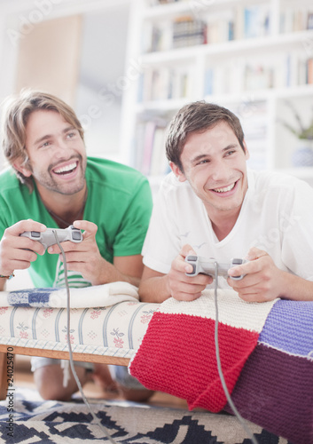 Men playing video game