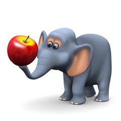 3d Elephant eats an apple