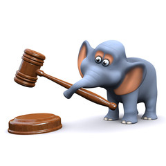 3d Elephant and gavel