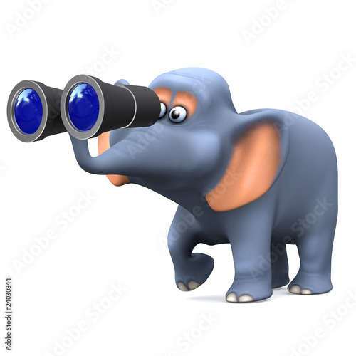 3d Elephant looks through binoculars