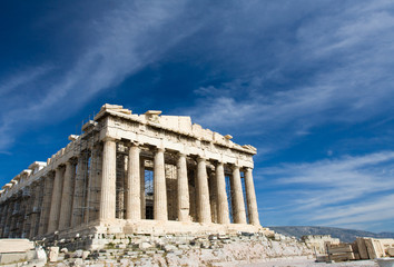 Ancient Parthenon in Acropolis Athens Greece on blue sky backgro