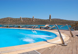 Swimming pool with jacuzzi at luxury hotel, Crete, Greece poster