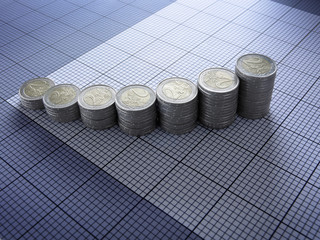 Stacks of Euro coins forming graph