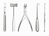 Surgical tools in a row