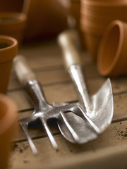 Close up of trowel and trowel fork among flowerpots