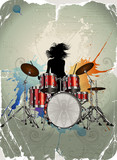 Girl play the drums