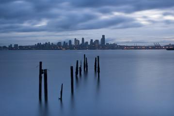 """""""Seattle cityscape, Elliot Bay, Puget Sound, Washington"""""""