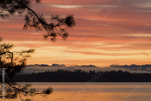 """Lake Washington at sunset, Washington"""