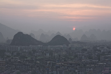 """Cityscape, Fubo Hill, Guilin, China"""