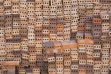 Stack of terracotta bricks