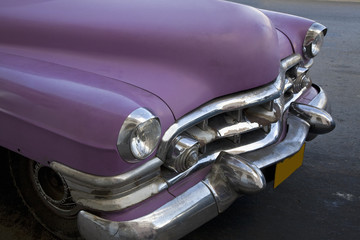 Hood of 1950s purple Cadillac
