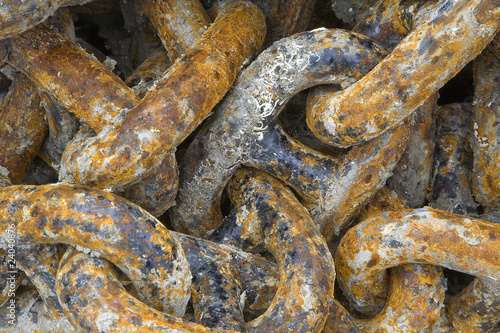 Close up of rusting anchor chains