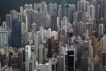 """""""Cityscape of urban highrises, Hong Kong, China"""""""