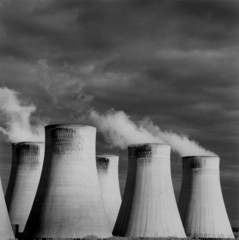 """Steaming cooling towers, Ratcliffe Power Station"""