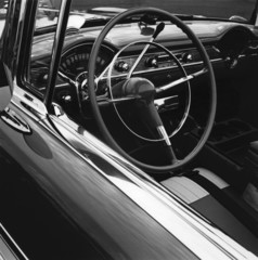 """""""Close up of old-fashioned, restored Chevrolet car"""""""