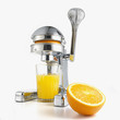 Juicer with orange and glass full of fresh juice