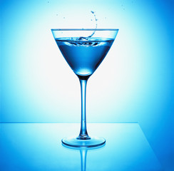 Close up of blue martini cocktail