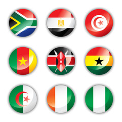 Glossy button flags - Africa