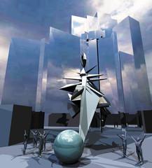 Grattacieli e scultura