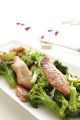 Chinese cuisine, broccoli and pork stir-fried