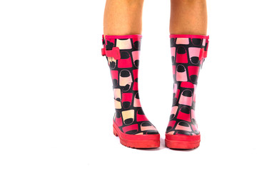 Red Wellingtons on a White Isolated Background