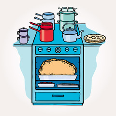 illustration of isolated kitchen stove on white background