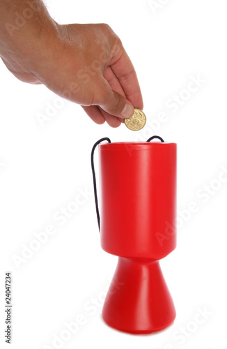 Man donating australian money to charity cutout