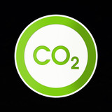 co2 button, seal, climate change, global warming poster