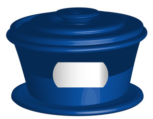 Blue closed container with lid,white frame for text, vector 3D