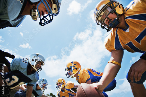 Football players preparing to play football