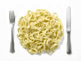plate-shaped composition with pasta