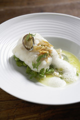 monkfish with broad beans