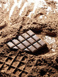 dark chococlate bar print in chocolate powder