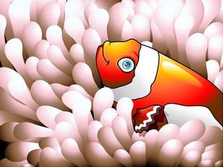 Pesce Pagliaccio nella Anemone-Clownfish in Anemone-Vector