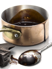 saucepan of melted chocolate and spoon
