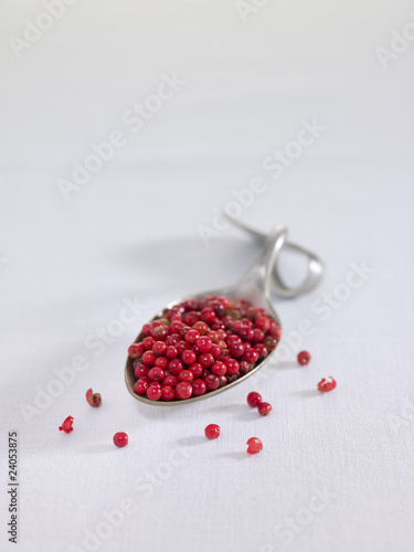 spoonful of pink peppercorns