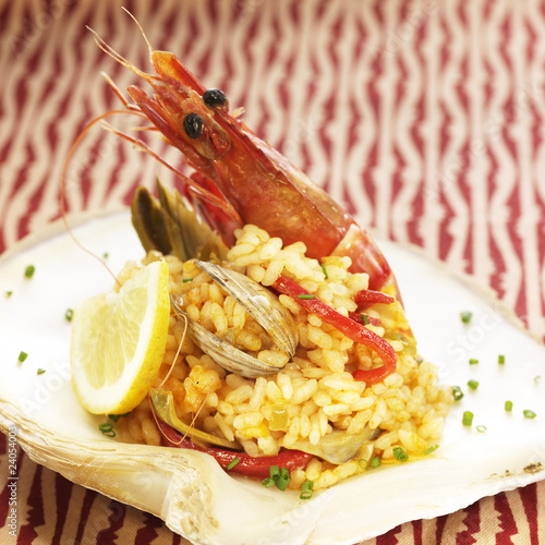 rice with seafood and shellfish