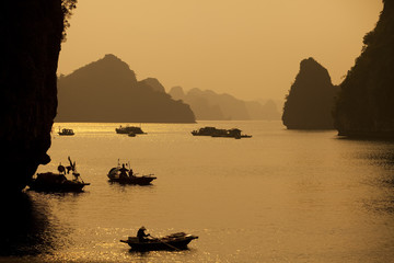 """Traditional boats in Halong Bay, Vietnam"""