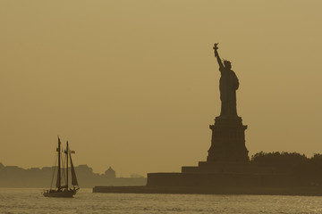 """Boat near Statue of Liberty, New York"""