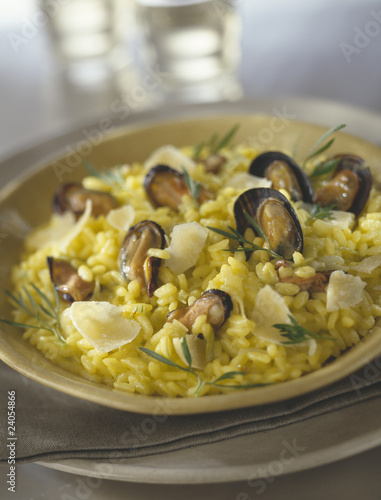 saffron risotto with mussels and parmesan