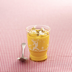 saffron custard with whipped egg whites