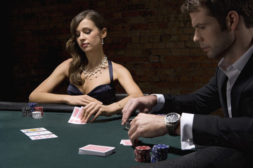 People playing poker in casino