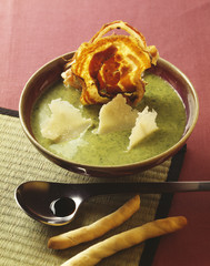 cress soup with parmesan flakes and fried bacon