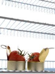 canned tomatoes in the refrigerator