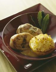 rabbit saddle with cider sauce,grated potato nest