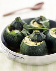 round zucchinis stuffed with mozzarella