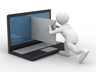 E-mail on white background. Isolated 3D image